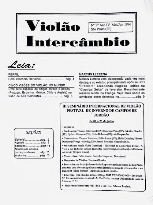 Revista Violão Intercâmbio - n 17 ano IV - mai/jun 1996