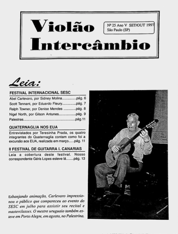 Revista Violão Intercâmbio - n 25 ano V - set/out 1997