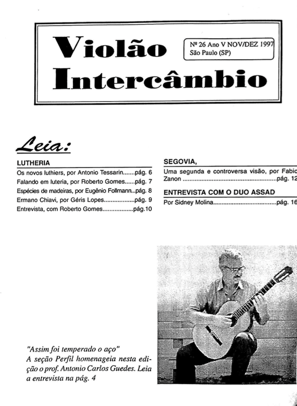 Revista Violão Intercâmbio - n 26 ano V - nov/dez 1997