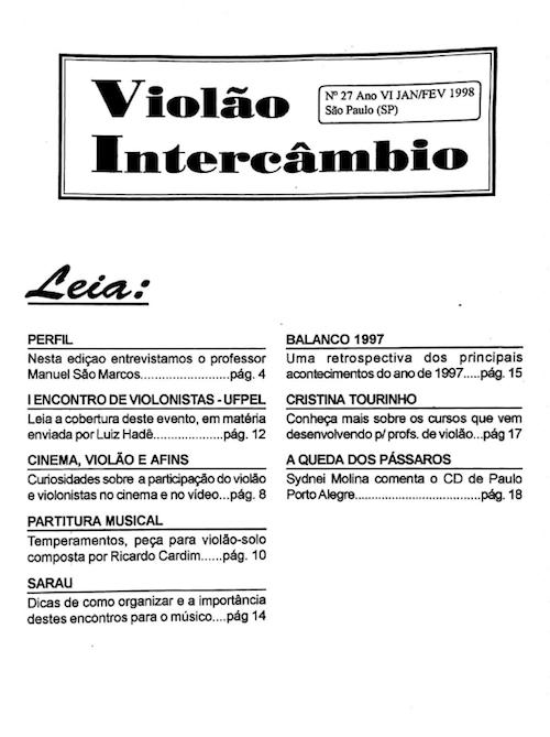 Revista Violão Interâmbio - n 27 ano VI jan/fev 1998
