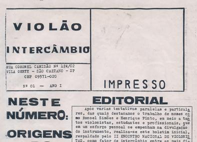 Revista Violão Intercâmbio - n 1 ano I - out/nov 1993