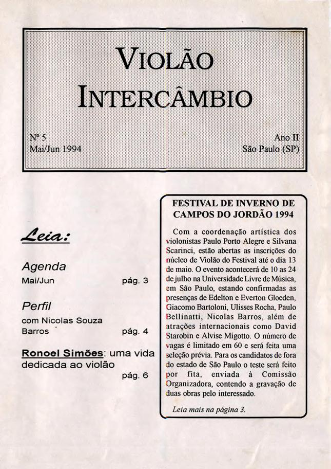 Revista Violão Intercâmbio - n 5 ano II - mai/jun 1994
