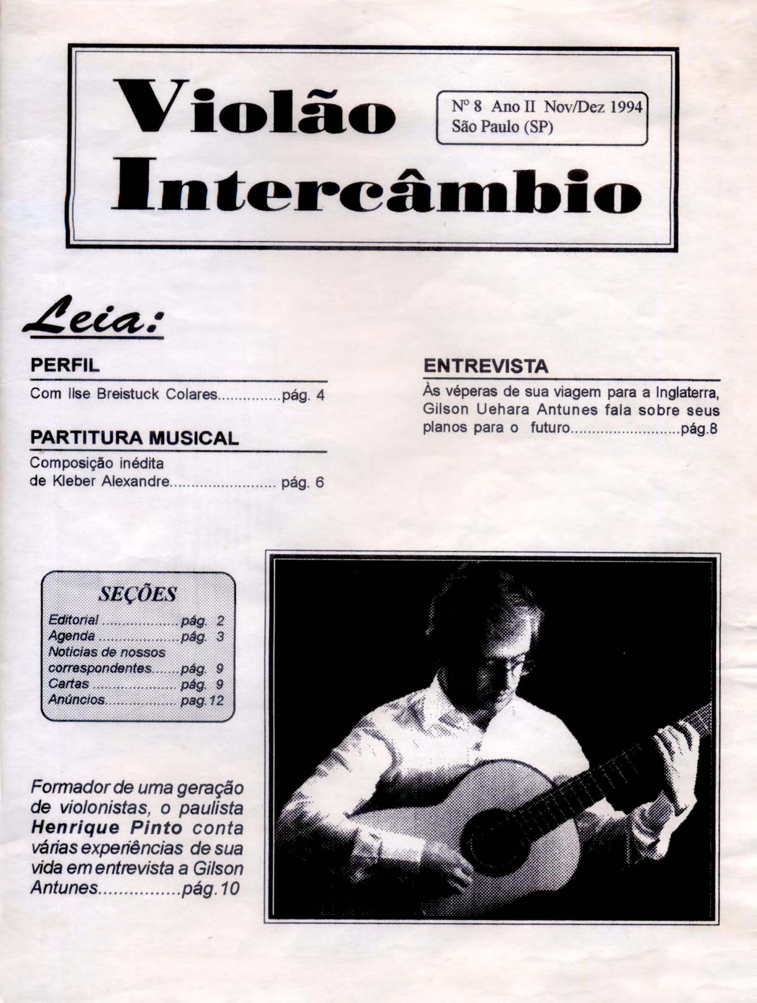 Revista Violão Intercâmbio - n 8 ano II - nov/dez 1994