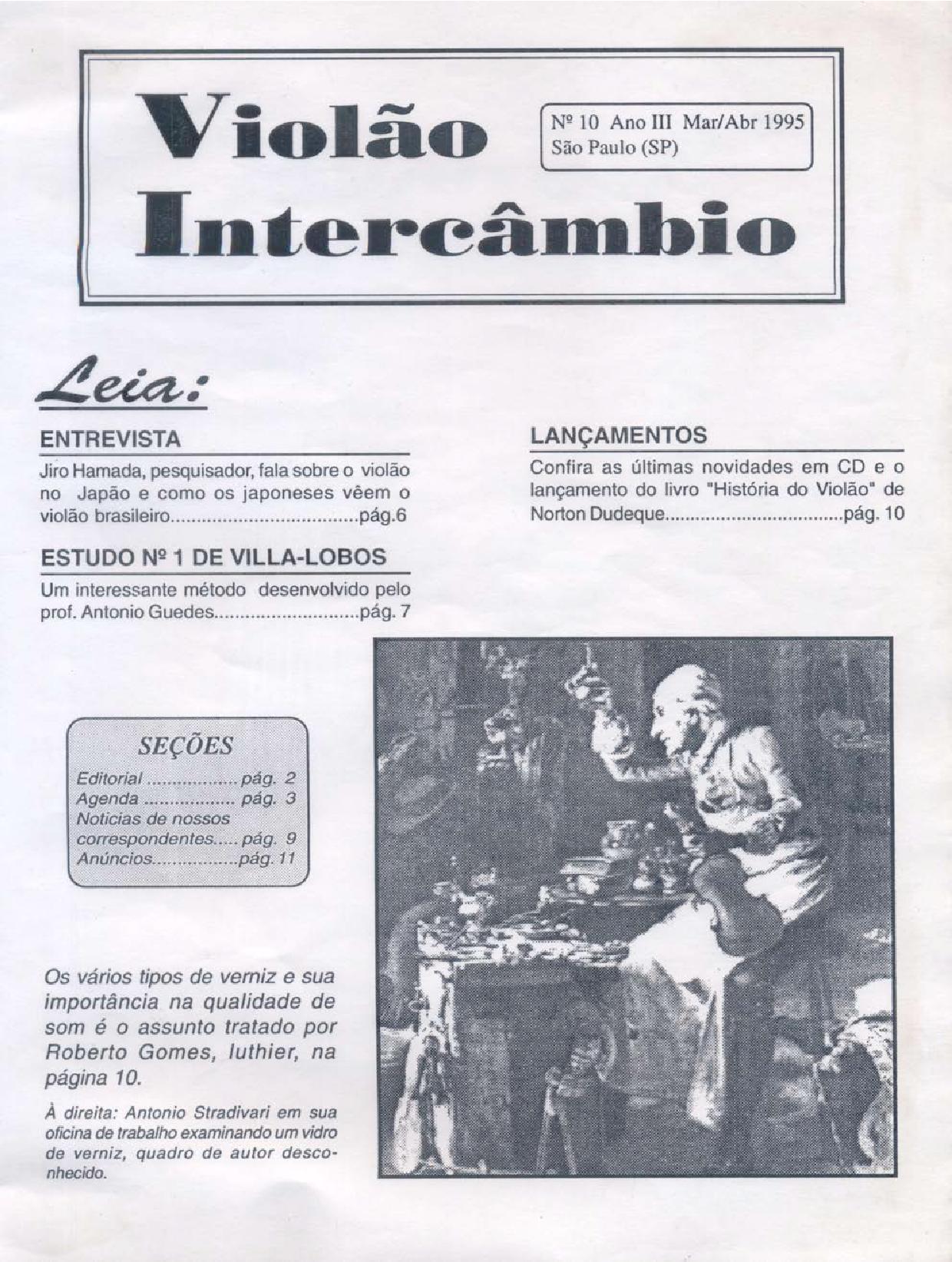 Revista Violão Intercâmbio - n 10 ano III - mar/abr 1995