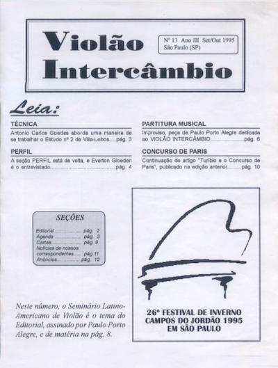 Revista Violão Intercâmbio - n 13 ano III - set/out 1995