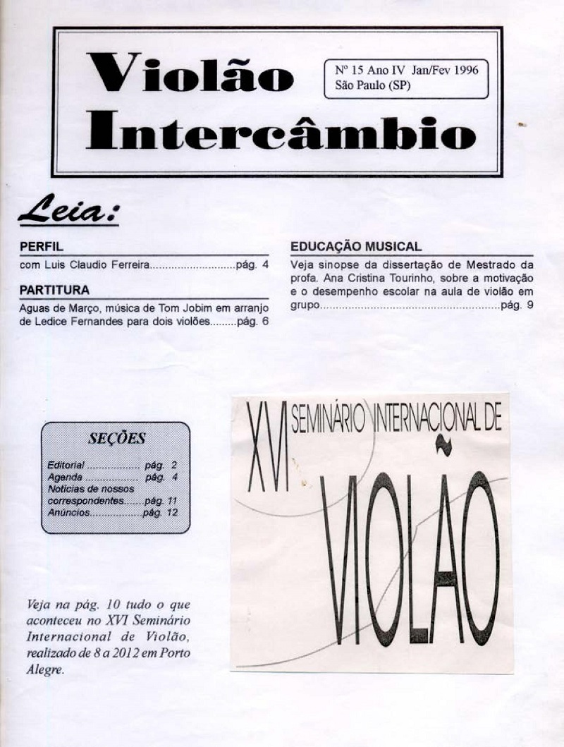 Revista Violão Intercâmbio - n 15 ano IV - jan/fev 1996