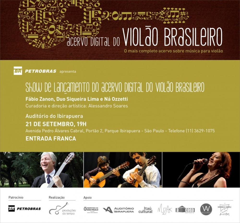 Fábio Zanon, Duo Siqueira Lima e Ná Ozzetti lançam Acervo Digital do Violão em São Paulo