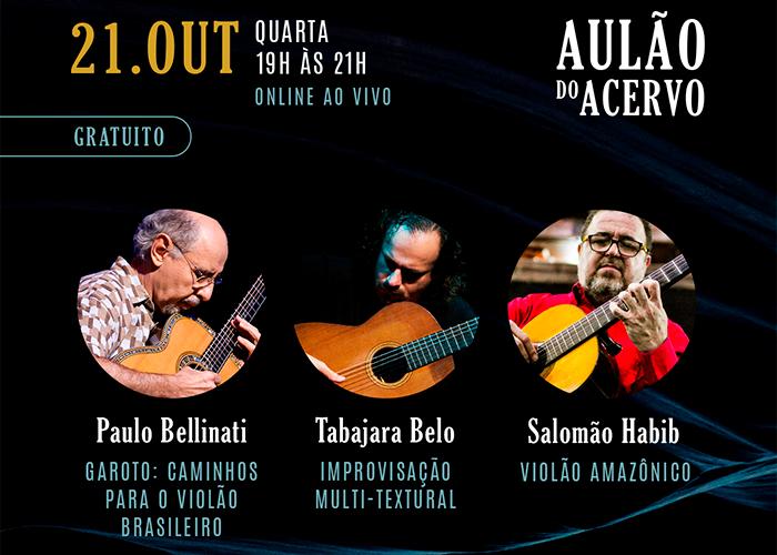 Capa do vídeo Aulão do Acervo (21/10) - Paulo Bellinati, Tabajara Belo e Salomão Habib