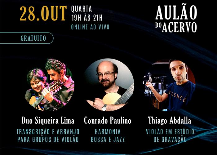 Capa do vídeo Aulão do Acervo (28/10) - Thiago Abdalla, Conrado Paulino e Duo Siqueira Lima