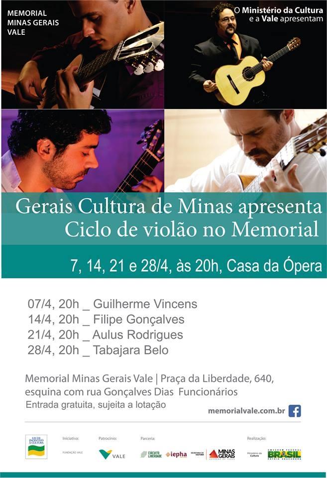 Ciclo de Violão promove recitais de 7 a 28 de abril em Belo Horizonte
