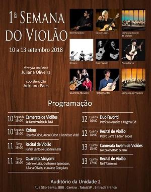 Tatuí promove Semana do Violão