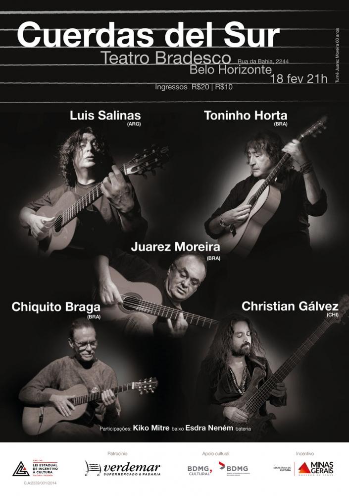 Vem aí o novo disco de Toninho Horta, Chiquito Braga e Juarez Moreira, com Luis Salinas e C. Gálvez