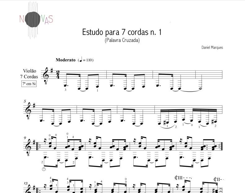 Palavra Cruzada - Estudo para 7 cordas nº 1 (Daniel Marques) - partitura violão solo