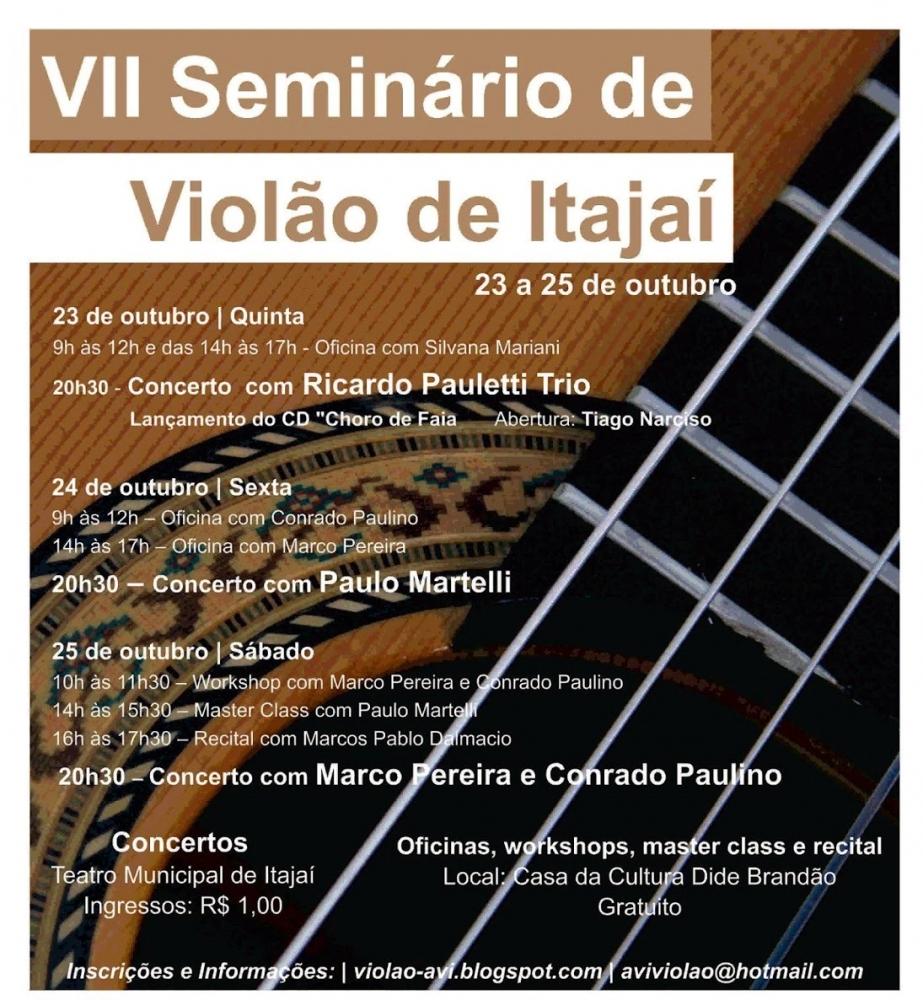 Seminário de Violão de Itajaí começa nesta quinta (23)